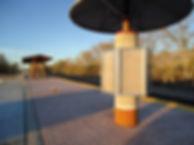 Mosaic kiosk located at the Los Ranchos de Albuquerque Rail Runner train station by ABQ Art Glass