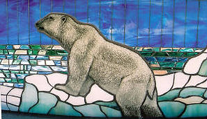Glass mosaic of Alaska, painted polar bear..