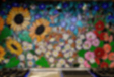 Glass mosaic kitchen backsplash, Flower Fiesta by ABQ Art Glass