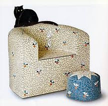 Mosaic Chair and Black Cat by Beverley Magennis