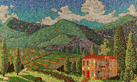 Kitchen mosaic backsplash of Tuscany by ABQ Art Glass