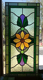 Yellow Flower stained glass by ABQ Art  Glass