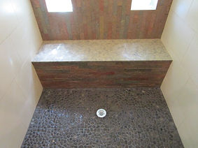 Stone shower by ABQ Art Glass