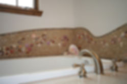Seashell mosaic tile bathroom by ABQ Art Galss