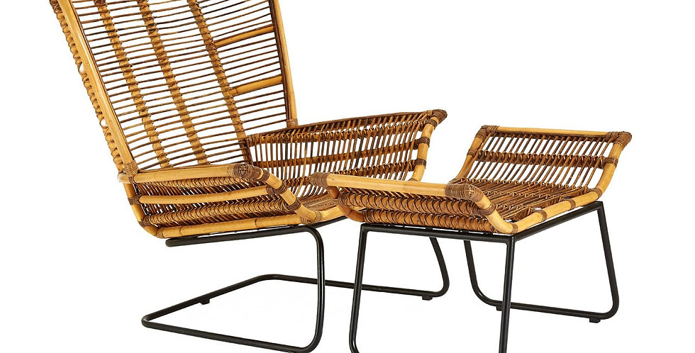 Manado Rattan/Black Iron Chair & Footstool