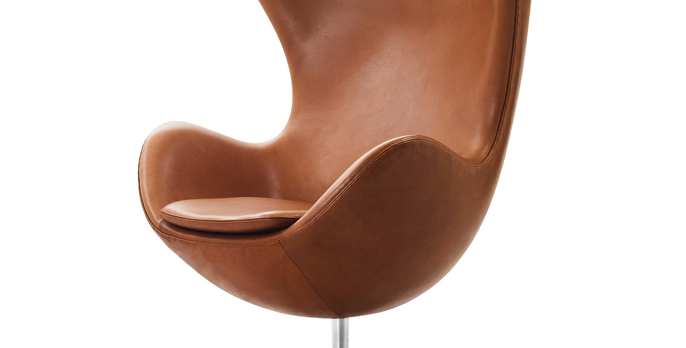 Arne Jacobsen Style Leather Egg Chair