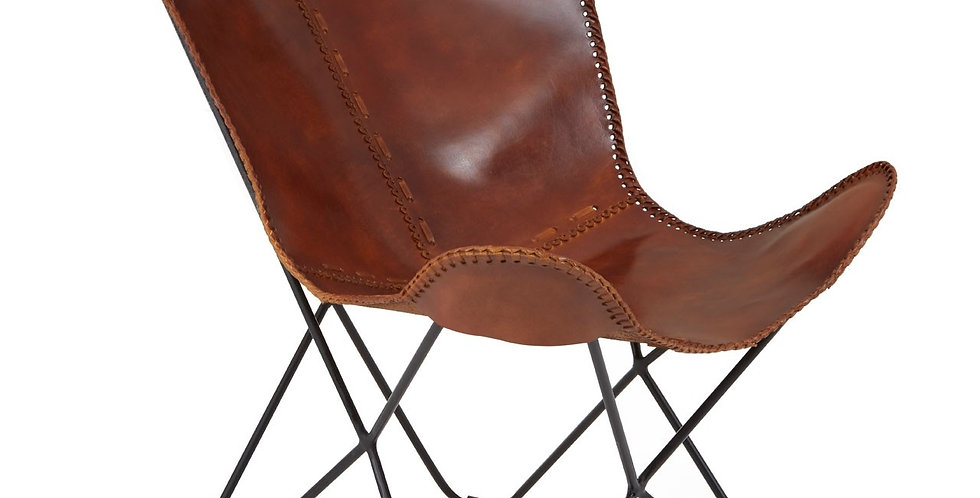 Buffalo Tan Leather Butterfly Chair