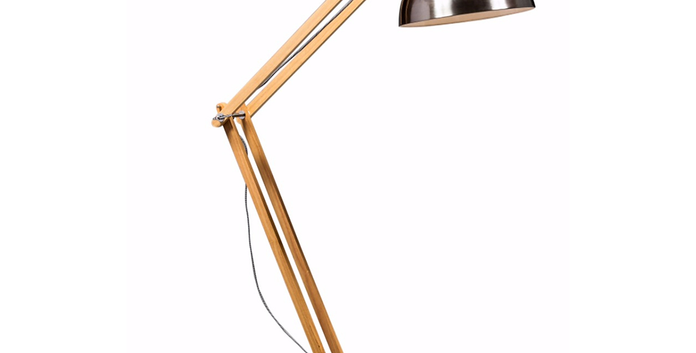 Brushed Steel with Wooden Arms Traditional Extra Large Floor Lamp