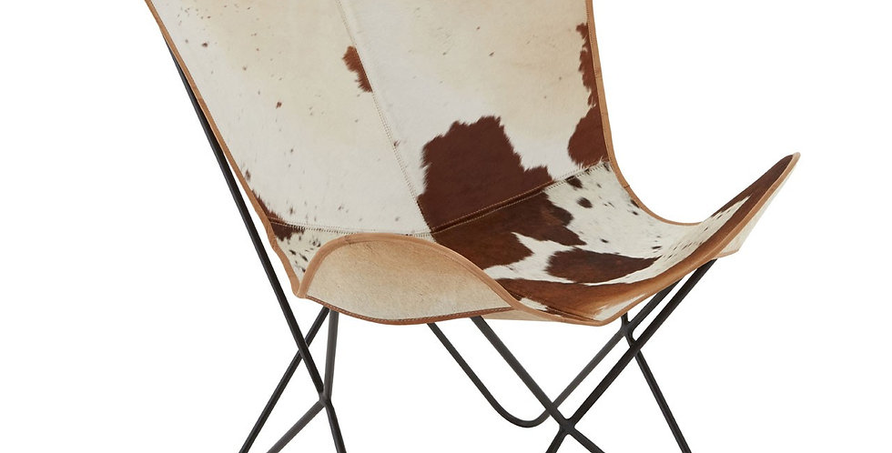 Buffalo Brown or Black Cowhide Butterfly Chair