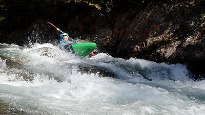 Kayaker on the upper Ngaruroro river