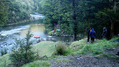 Group at Rocks Ahead hut on the upper Ngaruroro River