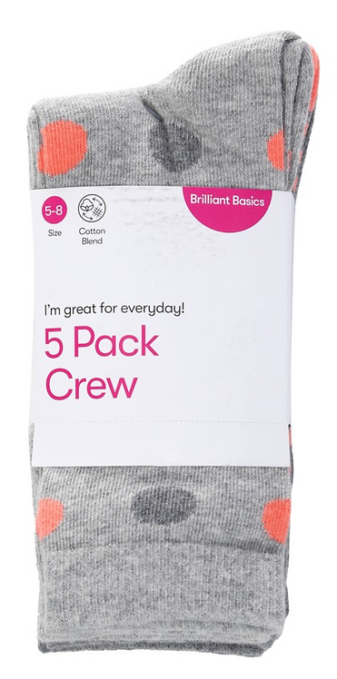 Women's Crew Socks (5 Pack)- Grey
