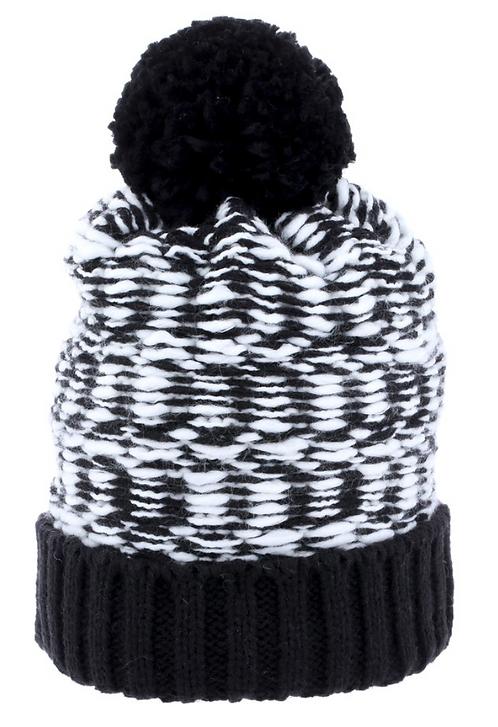Women's Beanie with Pompom- Black & White
