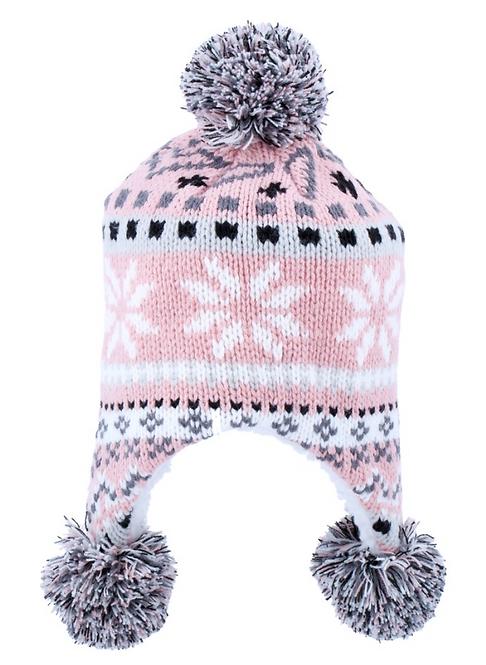 Women's Beanie with Pompom & Tails- Pink, Grey & Black