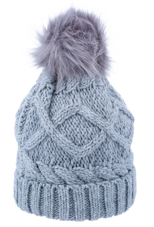 Women's Beanie with Pompom- Grey