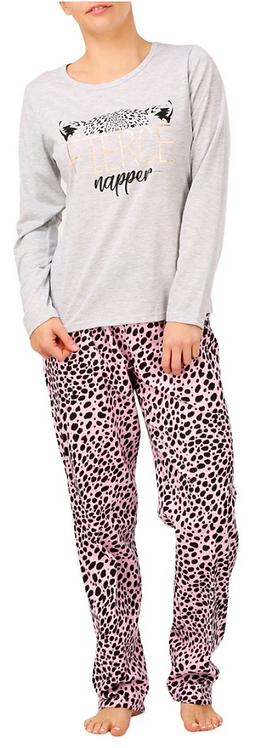 Women's Pyjama Set- Pink Leopard Print