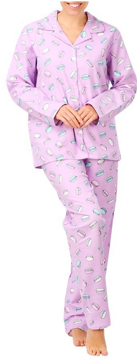 Women's Flannelette Pyjama Set- Pink with Macaroons