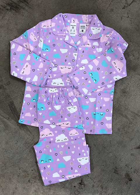 Girls Flannel Clouds Pyjama Set