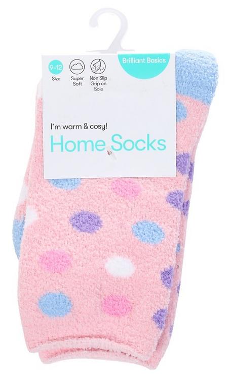 Girl's Home Socks- Pink Dots