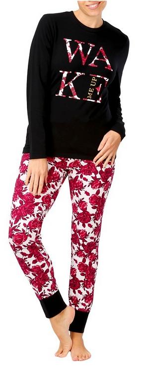 Women's Knit Pyjama Set- Flowers