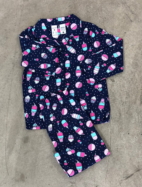 Girls Flannel Donuts Pyjama Set