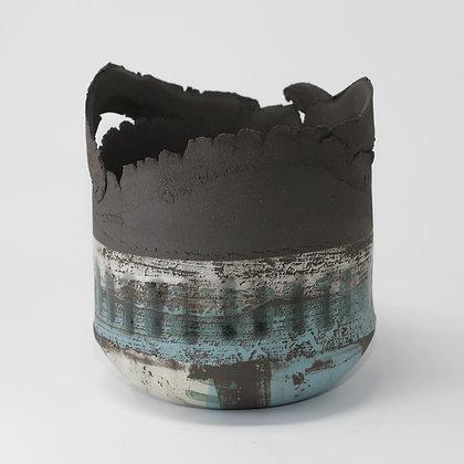 Black stoneware vessel