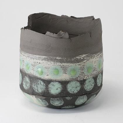 Dark grey stoneware vessel