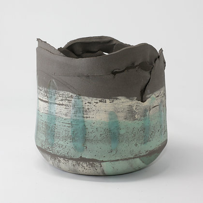Dark grey stoneware vessel