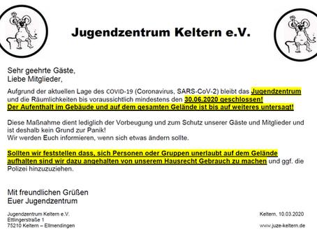 Jugendzentrum Keltern wegen Corona-Pandemie Geschlossen!