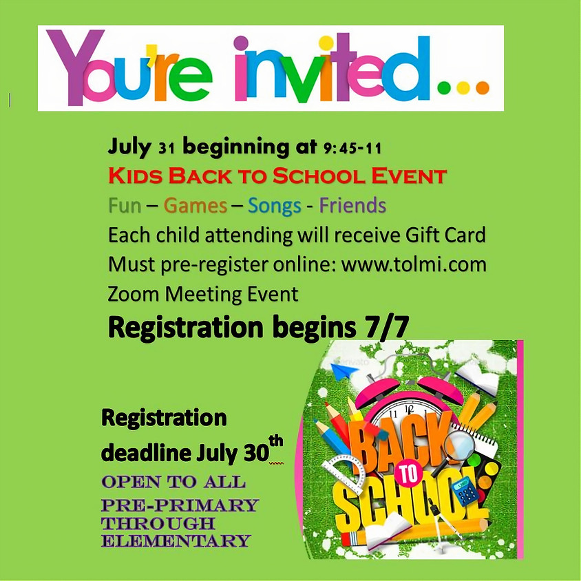 Kids Back to School Event