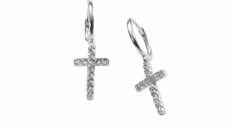 Arracadas cruz con zirconia