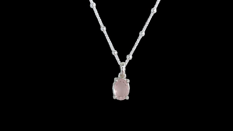 Collar Krystalos Cuarzo Rosa Facetado Round