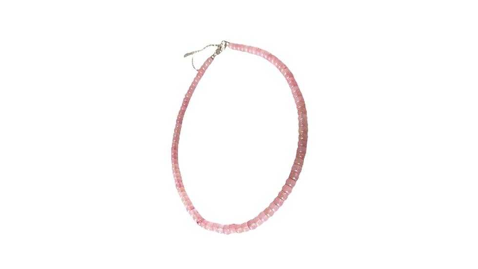 Beaded Necklace Cuarzo Rosa