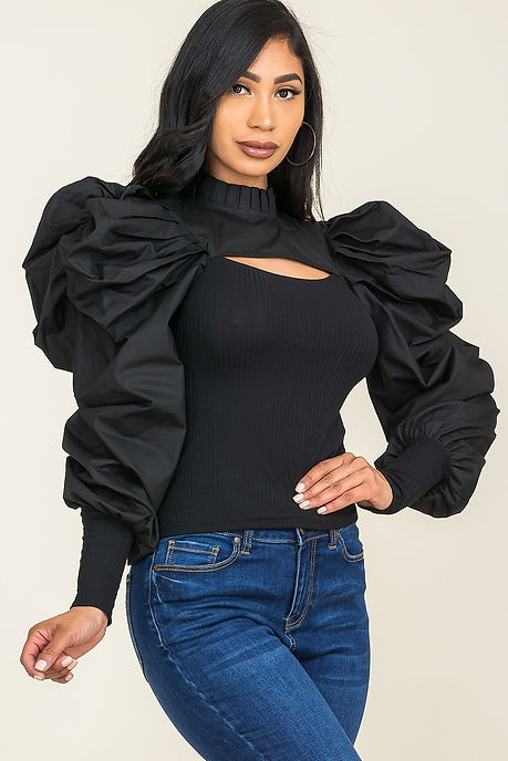 Black Keyhole Puff Sleeve Blouse