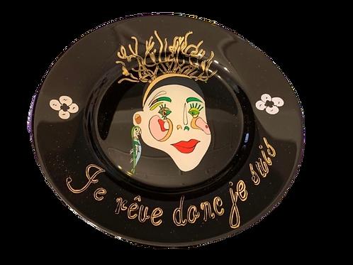 """je rêve donc de suis"" Black handmade plate by Sara Melki . "