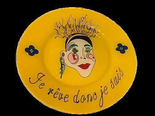 """je rêve donc de suis"" Yellow handmade plate by Sara Melki ."