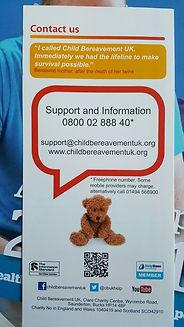 Bereavement UK leaflet telephone number 0800 0288 840