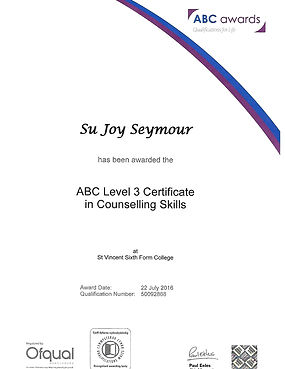 Su Seymour ABC level 3 certificate in counselling skills
