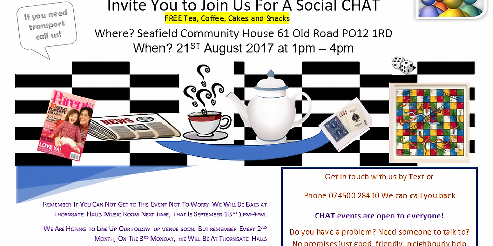 Social CHAT (2) Seafield House, 61 Old Rd, Gosport PO12 1RD