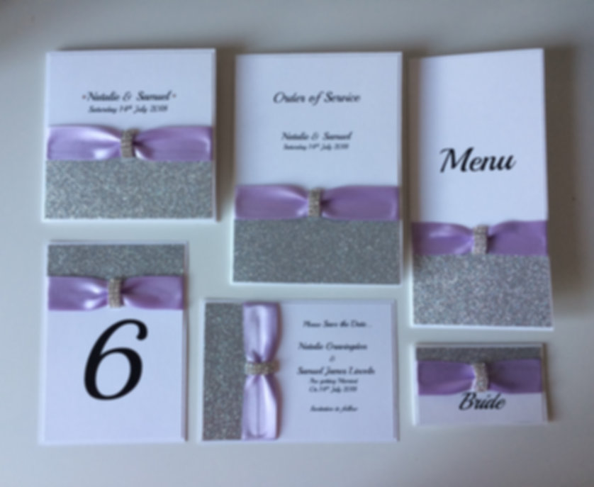 Glitter pocketfold handcrafted wedding invitation and stationery