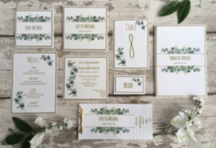 Modern botanic and greenery handcrafted flat syle wedding invitations and stationery