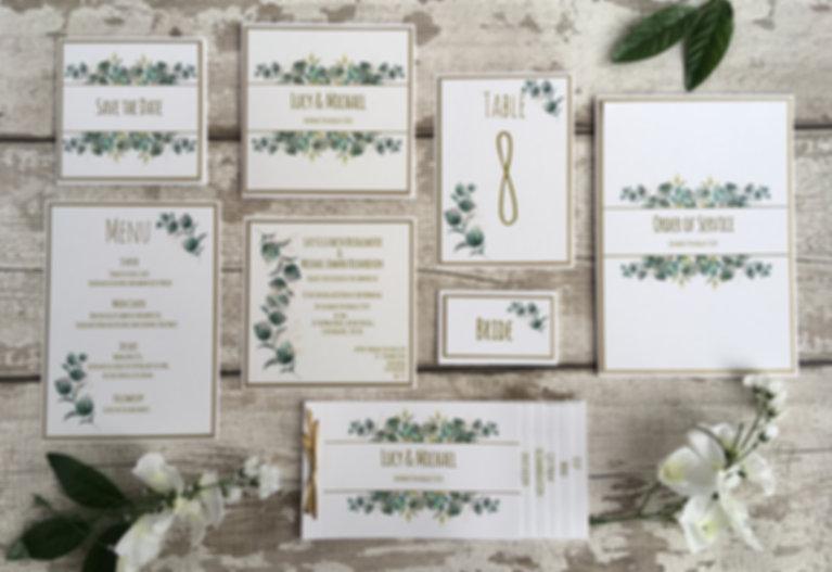 Modern Greenery and botanical inspired folded wedding invitations and stationery