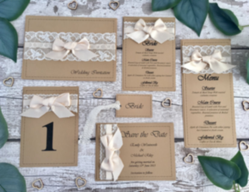 Rustic lace and ribbon are used to create thisflat menu is part of the Rustic Lace wedding collection handcrafted by Little h With Love