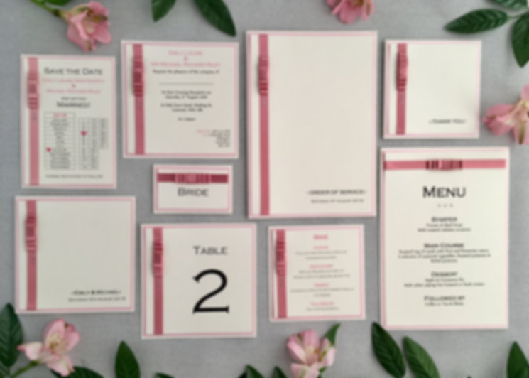 Handcrafted flat style wedding invitationsand stationery created using quality card, satin ribbon and swarovski crystals