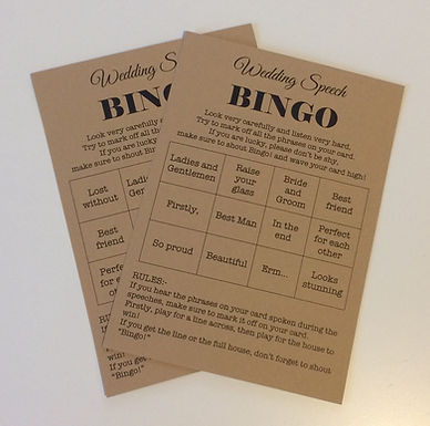 Wedding Speech Bingo Cards, to keep guests entertaineed through the speeches (not saying that speeches are boring!)