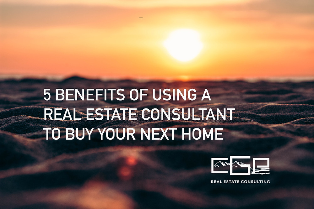 "Photo of sunset on beach with text overlay ""5 Benefits of Using a Real Estate Consultant to Buy Your Next Home"" from CGP Real Estate Consulting"