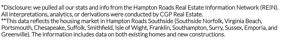 Disclosure: we pulled all our stats and info from the Hampton Roads Real Estate Information Network (REIN). All interpretations, analytics, or derivations were conducted by CGP Real Estate.  **This data reflects the housing market in Hampton Roads Southside.