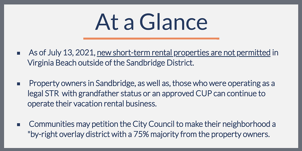Starting a short-term rental in Virginia Beach, VA is now illegal unless your property is located in Sandbridge.