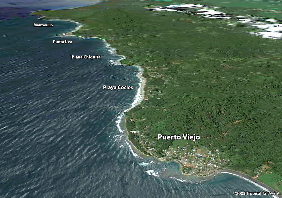 An overhead graphic representing the coastline from Puerto Viejo in the North to Manzanillo in the South. Each of the five beach towns are labeled on the map: Playa Cocles, Play Chiquita, Punta Uva