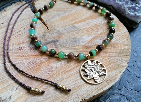 Collier chrysoprase et pendentif lotus
